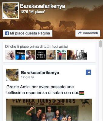 Pagina facebook ufficiale Baraka Safari Kenya
